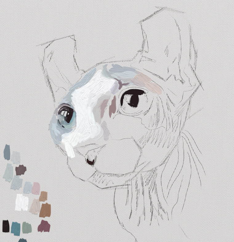 Painting A Cat In ArtRage Featuring Rémy The Gargoyle